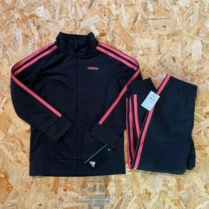 Adidas Girls Black/Pink 2 Piece Track Suit  Size 6
